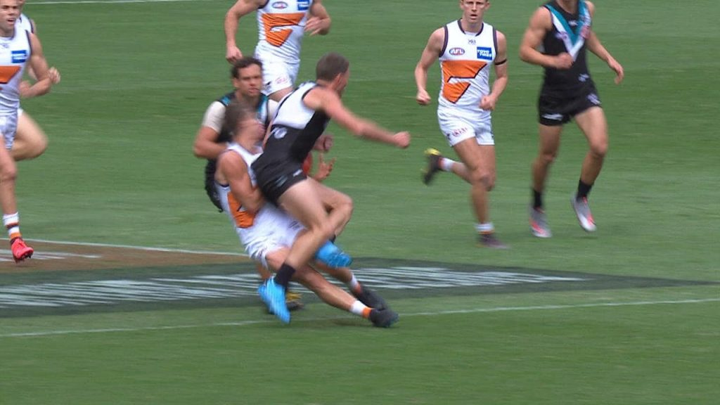 Brad Ebert, is in the difficult spot following the dangerous crash with Giant Harry Perryman at Metricon Stadium